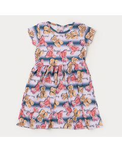 Vestido de Verão Infantil Feminino Marinho Urso