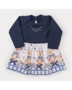 Vestido de Inverno Infantil Marinho com Estampa de Ursinho