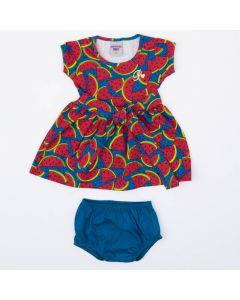 Vestido Azul com Estampa de Melancia com Calcinha para Bebê