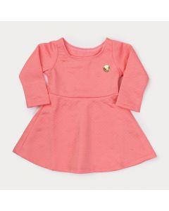 Vestido Rosa Bebê Menina Manga Longa