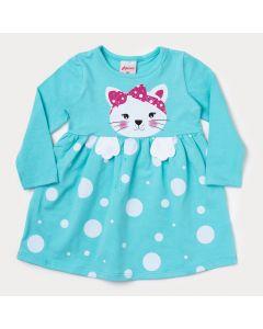 Vestido Azul para Bebê em Manga Longa com Estampa de Gatinho