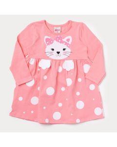 Vestido Rosa para Bebê em Manga Longa com Estampa de Gatinho
