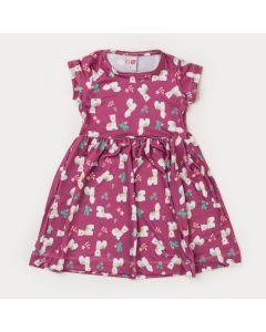 Vestido Curto Infantil Feminino Lilas Lhamas