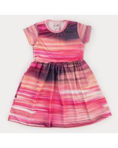 Vestido Infantil Feminino Aquarela Rosa