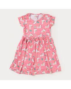 Vestido Curto Infantil Feminino Rosa Lhamas