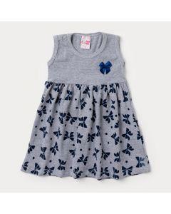 Vestido Mescla Infantil com Estampa de Laço