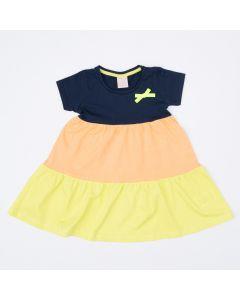 Vestido Bloco de Cores Marinho Infantil