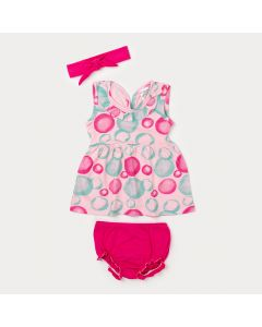 Vestido para Bebê Rosa Estampado de Bolinha com Calcinha e Faixa Pink