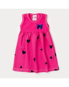 Vestido para Bebê Pink com Estampa de Coração e Aplique