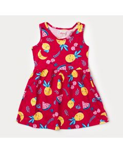 Vestido Pink para Bebê com Estampa de Frutas