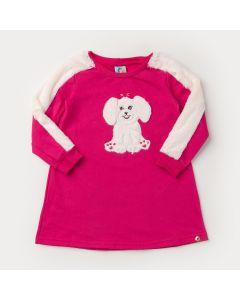 Vestido de Inverno Pink Cachorrinho Peluciado para Menina