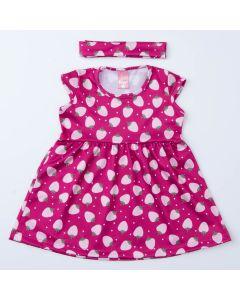 Vestido Infantil Moranguinho Pink com Faixa de Cabelo