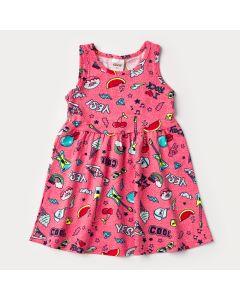 Vestido Pink para Menina Estampado