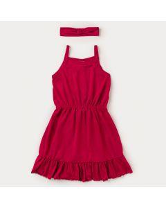 Vestido Infantil Feminino Pink com Faixa de Cabelo