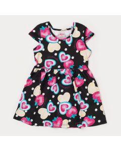 Vestido Infantil Feminino Preto Coração