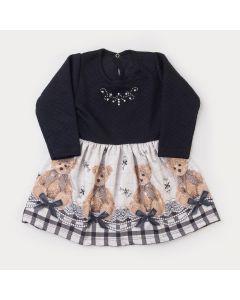 Vestido de Inverno Infantil Preto com Estampa de Ursinho