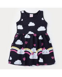 Vestido Preto Infantil Nuvenzinhas