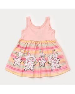Vestido Rosa para Bebê Menina Unicórnio