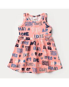 Vestido Regata para Bebê Menina Rosa Estampado