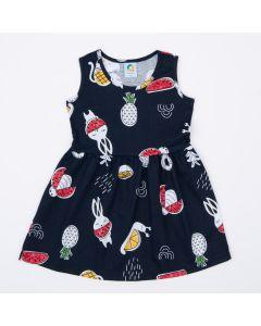 Vestido Marinho Frutinhas Infantil