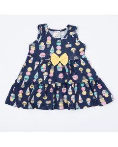 Vestido Regata para Bebê Marinho com Estampa de Sorvete