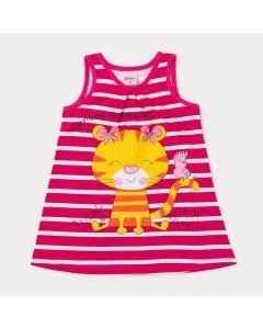 Vestido Listrado Pink para Bebê Menina Tigrinha