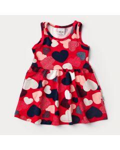 Vestido Regata Vermelho para Bebê Menina Coração