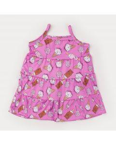 Vestido de Alcinha Rosa Infantil Sorvetinhos com Babado