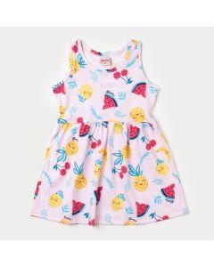 Vestido Rosa Claro para Bebê com Estampa de Frutas