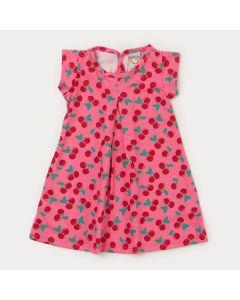 Vestido para Bebê Menina Rosa Cereja