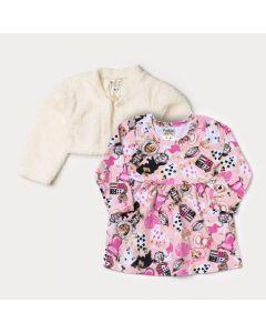 Conjunto Bebê Menina Vestido Manga Longa Rosa Estampado e Bolero em Pelo