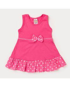 Vestido Rosa para Bebê Menina com Bolinhas Brancas