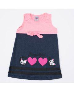Vestido Infantil Rosa Gatinho com Laço