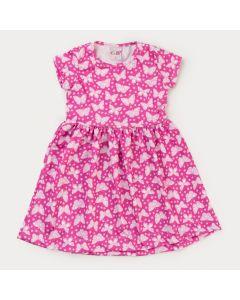Vestido Rosa Borboleta Infantil Feminino