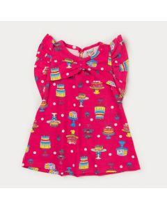 Vestido Rosa para Bebê Menina Estampado com Laço