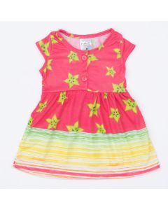 Vestido Rosa para Bebê Estampado de Frutinhas