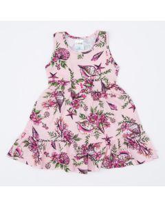 Vestido Regata Infantil Rosa Florzinhas