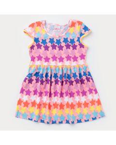 Vestido Rosa Infantil com Estrelinhas Coloridas