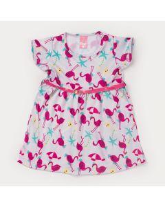 Vestido de Verão Rosa Infantil Flamingo com Cinto