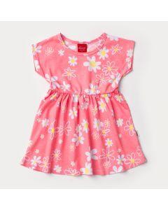 Vestido Rosa com Flores para Bebê Menina