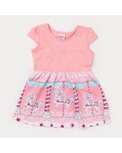 Vestido Rosa para Bebê Menina Carrossel