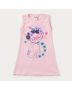 Vestido Rosa Infantil com Estampa de Gatinho