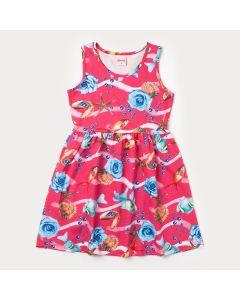Vestido Rosa Infantil com Estampa de Peixe