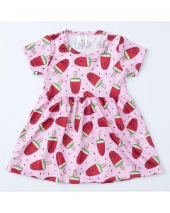 Vestido de Verão Infantil Rosa com Estampa de Melancia