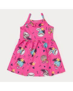 Vestido Rosa Infantil Menina Tropical