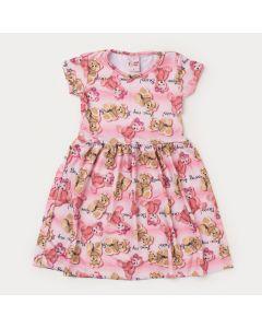 Vestido de Verão Infantil Feminino Rosa Ursinho