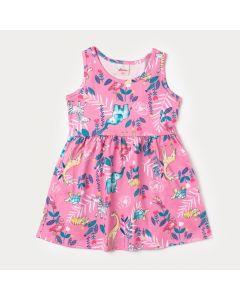 Vestido Rosa para Bebê com Estampa de Bichinho
