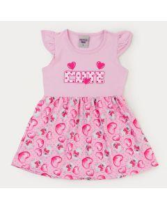 Vestido Rosa para Menina com Estampa de Coração