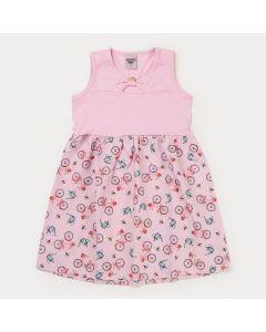 Vestido Infantil Feminino Rosa Bicicleta
