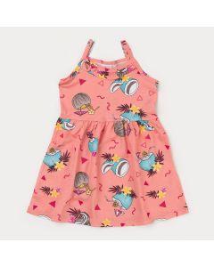 Vestido Salmão Infantil Menina Tropical
